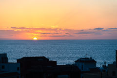 Sunset in the Valle Gran Rey on La Gomera Royalty Free Stock Images
