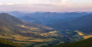 Sunset in the valley. A valley in Carpathians in the sunset Royalty Free Stock Photography