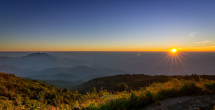 Sunset on valley of chiangmai, thailand Royalty Free Stock Photos