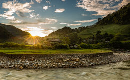 Sunset in valley. The sunset in mucangchai valley- yenbai province - vietnam Stock Photo