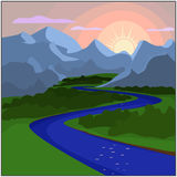 Sunset in the valley where the river flows. Sunset in the valley where the river, forest and mountains Stock Image