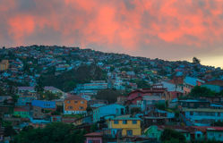 Sunset in Valparaiso, Chile. Royalty Free Stock Image