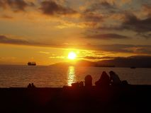 Sunset on Vancouver Beach stock image