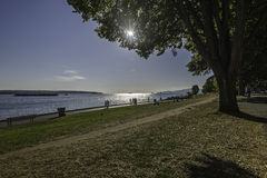 Sunset on Vancouver beach. In a sunny summer day royalty free stock photo