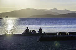 Sunset on Vancouver beach. In a sunny summer day royalty free stock image