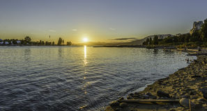 Sunset on Vancouver beach. In a sunny summer day stock photos