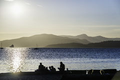 Sunset on Vancouver beach. In a sunny summer day royalty free stock images