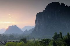 Sunset Vang Vieng Laos. Royalty Free Stock Photos