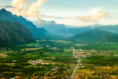 Sunset on Vang Vieng, Laos Royalty Free Stock Photo