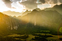 Sunset on Vang Vieng, Laos Royalty Free Stock Photography