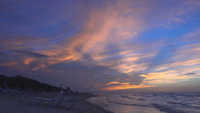 Sunset in Varadero Beach, Cuba. Amanzingly beautiful sunset in Varadero beach in Cuba featuring orange and blue colors stock video