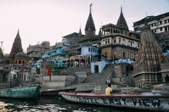 Sunset in Varanasi, India. The sun sets behind the ghats in Varanasi, India stock images