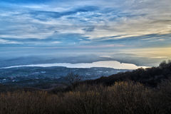 Sunset on the Varese lake Royalty Free Stock Photos