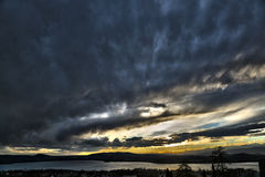 Sunset on the Varese lake Royalty Free Stock Photography
