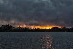 Sunset on the Varese lake Royalty Free Stock Photo