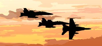 Sunset vector with airplane  jet fighter. Vector of airplane jet fighter;  black plane silhouette in a  sunset background Royalty Free Stock Photography