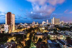 Sunset in Vedado neighborhood in Havana, Cuba Royalty Free Stock Image