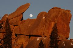 Sunset, Vedauwoo, #4a. Sunset and moonrise, Vedauwoo rock climbing area, Medicine Bow National Forest, Wyoming Royalty Free Stock Photography