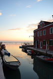 Venice, lagoon. Sunset in the venetian lagoon, Burano, Italy stock image
