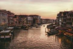 Sunset on Venezia grand canal, soft focus Stock Photo