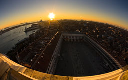 Sunset in Venice aerial view over piazza San Marco Stock Photos