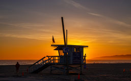 Sunset Venice beach. stock photo