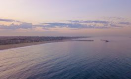 Sunset at the Venice beach in Los Angeles. Fresh sunrise morning at the Venice beach in Los Angeles. Aerial view from above in USA. View on the Santa Monica pier Royalty Free Stock Photo
