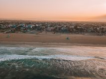 Sunset at the Venice beach in Los Angeles. Fresh sunrise morning at the Venice beach in Los Angeles. Aerial view from above in USA. View on the Santa Monica pier Stock Photo