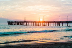 Sunset at Venice Beach Royalty Free Stock Photos
