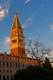 Sunset in Venice, Campanila bell tower at piazza San Marco Stock Photos