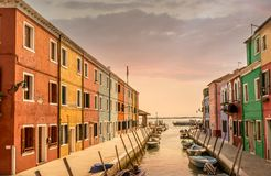 Sunset on the Venice canal Murano Burano stock photography