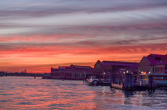 Sunset at Venice lagoon Royalty Free Stock Photography