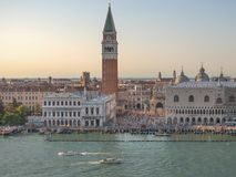 Sunset Venice`s view,Piazza San Marco and the Doges Palace in Venice, Italy, Europe. Sunset Venice panorama: St Mark`s Square , Piazza San Marco `la Piazza` or ` royalty free stock images