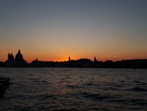 sunset at venice view from the boat stock photos