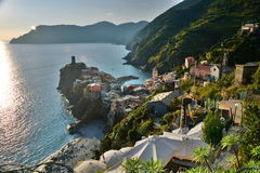 Sunset in Vernazza. Cinque Terre, Liguria, Italy Royalty Free Stock Photography