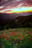 Sunset vertical glow in the Wasatch mountains. Stock Image