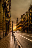 Sunset in Via Laietana Royalty Free Stock Images