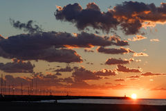 Sunset in Viareggio Royalty Free Stock Photography