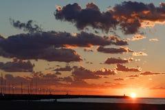 Sunset in Viareggio. Sunset in the beach Viareggio Tuscany Italy royalty free stock photography