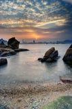Sunset Victoria. Sunset at Victoria Harbour, Hong Kong stock photos