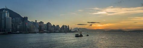 Sunset at Victoria Harbor of Hong Kong stock image