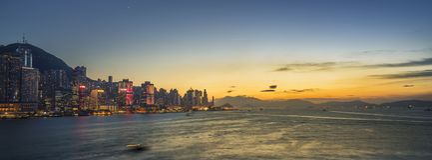 Sunset at Victoria Harbor of Hong Kong stock photos