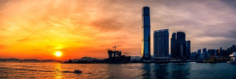Sunset of Victoria Harbor of Hong Kong Royalty Free Stock Photography