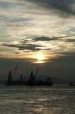 Sunset of Victoria harbour Royalty Free Stock Photo