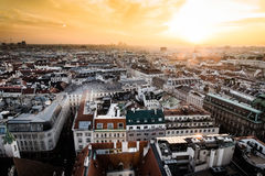 Sunset in Vienna, aerial view from above the city Royalty Free Stock Images