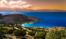 Mirabello Bay landscape photo of sunset view from  Stock Images