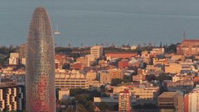 Sunset view of the Agbar tower in Barcelona.Time Lapse stock video footage
