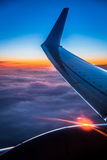 Sunset view from the airplane window Stock Photography