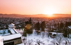 Sunset view of Aizu Wakamatsu city and castle park from aerial a. Ngle with beautiful evening light stock images