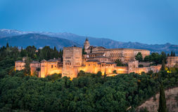 Sunset view of Alhambra, Granada, Spain. Sunset  views of the Alhambra from el Mirador de San Nicolas, Granada, Andalucia, Spain in Summer 2016 Stock Images